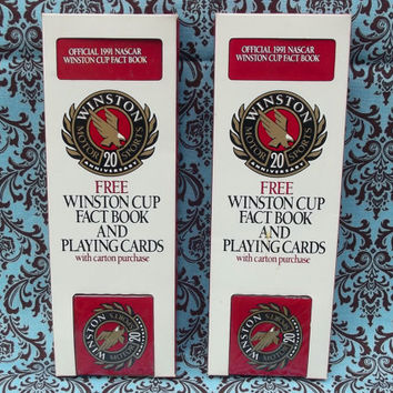 Official 1991 NASCAR Winston Cup Fact Book and Playing Cards Red Deck Sealed 1994 Sports Marketing Enterprises Set of Two