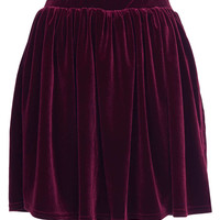 Burgundy Velvet Skater Skirt - New In This Week - New In - Topshop