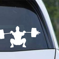 Weightlifting Man (f) Die Cut Vinyl Decal Sticker