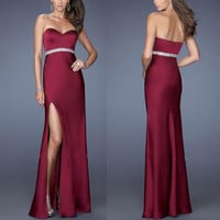 Red Wine Strapless High Side Slit Maxi Dress with Silver Belt