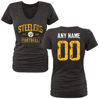 Women's Black Pittsburgh Steelers Distressed Custom Name & Number Tri-Blend V-Neck T-Shirt