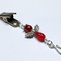 Red Angel Portuguese Knitting Pin- Clip on Badge Pin