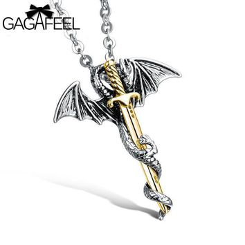 Fashion Gold Stainless Steel Jewelry Dragon Sword Men Punk Pendant Necklace Link Chain Charm