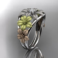 14kt tri color gold diamond floral wedding ring,engagement ring,wedding band.ADLR170