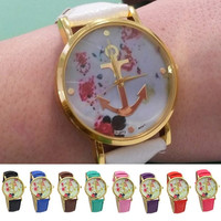 Women's Faux Leather Floral Printed Anchor Quartz Dress Wrist Watch = 1956396740