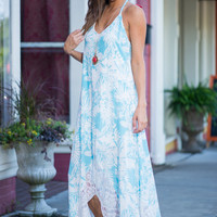 Long Summer Sways Maxi Dress, Sky Blue