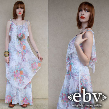Vintage 70s Floral Ruffled Tiered Ethereal Maxi Sun Dress XS S