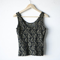 VICTORIAN vintage 80s BLACK and gold sleeveless LACE sheer tank floral low back scoop neck
