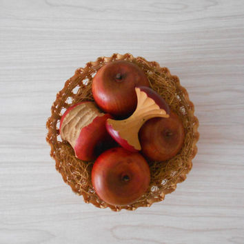 solid wood red apples // montessori fruit toy // set of 5