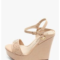 NUDE Lisa Laser Cut Wedges | $10.00 | Cheap Trendy Wedges Chic Discount Fashion for Women | ModDeal