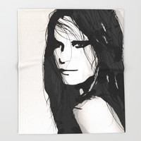 Face- Vogue Throw Blanket by Allison Reich