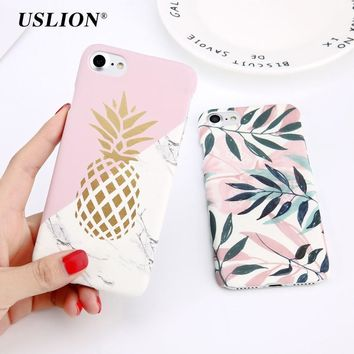 USLION Flower Leaf Print Phone Case For iPhone 7 7 Plus Pineapple Marble Hard PC Cover Cases For iPhone X 8 6 6s Plus 5 5S SE
