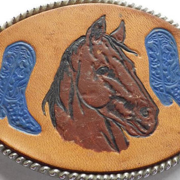 Leather Belt Buckle Horse and Cowboy Boots Vintage