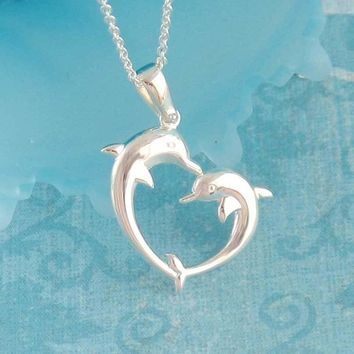 Friendly Dolphins Heart Necklace