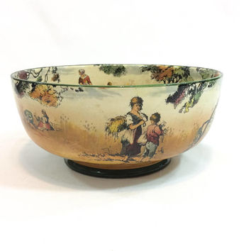 Royal Doulton Footed Pedestal Bowl, Old English Scenes The Gleaners, Fall Harvest Colors, 1930s, Vintage English Bone China, AS IS