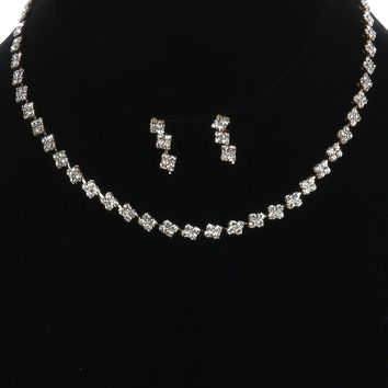 Clear Rhinestone Metal Bib Necklace And Earring Set