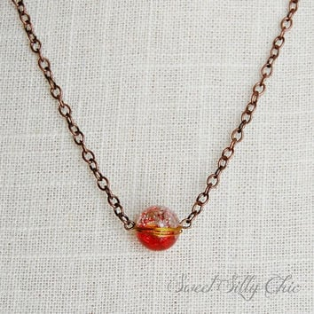 The Red Crackle Bead Necklace, Red Crackle Bead on Copper Chain Necklace, Custom Length, Industrial Style Jewelry, Magic, Crystal Ball