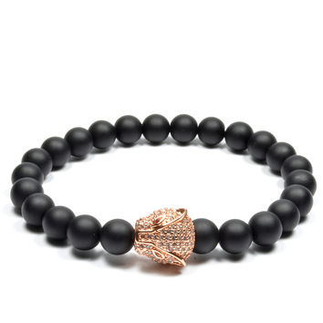 8mm Matte Black Onyx with Rose Gold CZ Cheetah