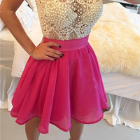 White And Hot Pink Homecoming Dress, A-Line Chiffon Homecoming Dress With Pearl Beadings