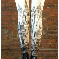 Victorian City Leggings - Off white Leggings - Womens leggings - legwear