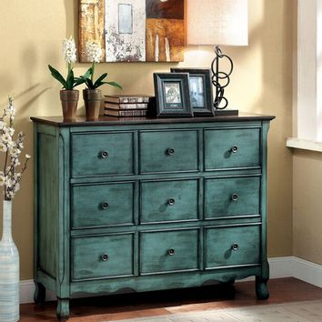 Orofino Collection Vintage Style Antique Green And Brown Finish Wood 3  Drawer Hall Console Table