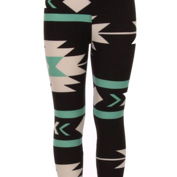 Girl's American Indian Aztec and Stripe Pattern Print Leggings