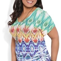 Plus Size Short Sleeve Dolman Top with Blurred Tribal Print