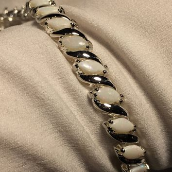 Handmade Vintage Genuine Opal Rhodium Finished 925 Sterling Silver Tennis Bracelet