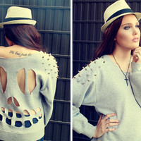 STUDDED SHOULDER SKELETON BACK SWEATER
