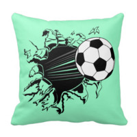 Soccer Ball Busting Out Throw Pillow