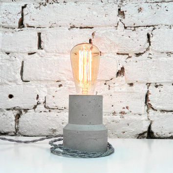 "Concrete Lamp ""The Cylinder"" - Lighting - Concrete table lamp with textile cable and vintage Edison bulb"