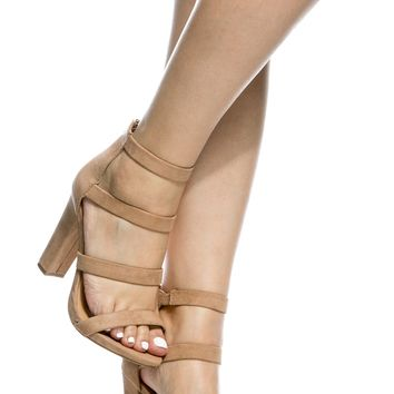 Camel Faux Suede Multi Strap Chunky Heels @ Cicihot Heel Shoes online store sales:Stiletto Heel Shoes,High Heel Pumps,Womens High Heel Shoes,Prom Shoes,Summer Shoes,Spring Shoes,Spool Heel,Womens Dress Shoes