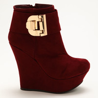 Burgundy Buckle Wedge Booties