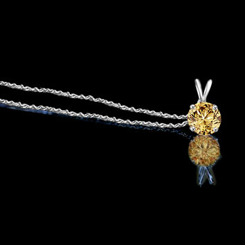 1.5 CT round simulated Canary diamond - Diamond Veneer solitaire pendant 635P150ACRtv