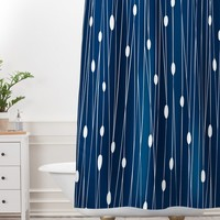 Heather Dutton Navy Entangled Shower Curtain And Mat