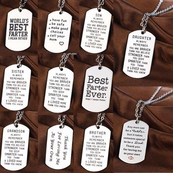 Family Love Son Brother Father Grandson Sister Daughter Necklace Dog Tag Military Stainless Steel Pendant Necklace Energy Gifts
