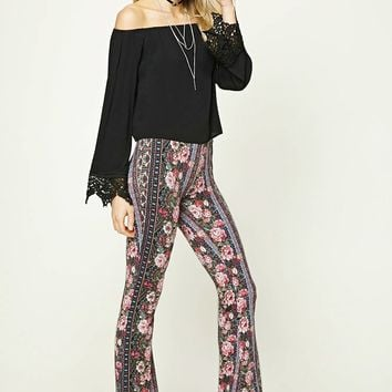Flared Ornate Rose Print Pants