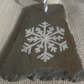 One-of-a-kind Snowflake Ornament Hand-painted on Free-form Vintage Slate -SNFLK5
