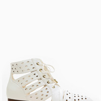 Dollhouse Wild Daze White Ankle Bootie