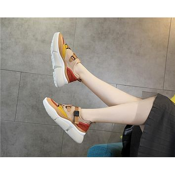 New High Top Women PU Leather + Canvas Platform Walking Sneakers