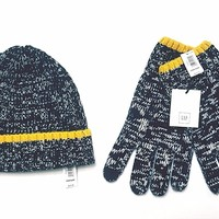 NEW GAP Mens Navy Marled Knit Beanie & Touchscreen Smartphone Gloves Wool Blend