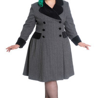 Hell Bunny Two Tone Gray Tweed Foxy Pinup A-line Flare Double-breasted Coat