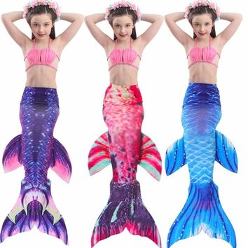 2018 children Bikini Set cosplay Mermaid Swimsuit Baby Girls Swimwear Colorful Bikinis Kid swimming Mermaid Tails