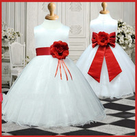 flower girl dresses, girl evening party dress with nice big satin sash and flower brouch, 2-14 years #ER1067