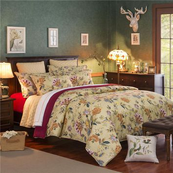 Pastoral style Villatic Bedding Set Floral Pattern Duvet Cover Bed Sheet Retro Pillow Shams 3/4 pcs Single Twin Full Queen king