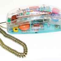 90's Rainbow Clear Telephone
