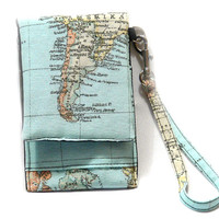 World Map iPhone Wallet with Detachable Wrist Strap, Smartphone Wallet,  iPhone Sleeve. iPhone 5 sleeve. Floral IPhone . Gift Idea