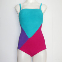 Vintage 70s One-Piece Womens BATHING SUIT Swimwear COLORBLOCK Strapless S M