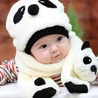0-3 years Panda Hat kids autumn and winter Knitted Plush Hat Scarf two-piece fitted one white