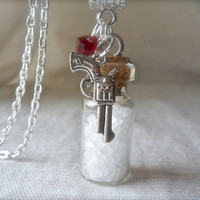 "Supernatural Salt Protection Ward Colt Swarovski Crystal Charm Gun Necklace 18"" Dean Sam Winchester Ghost Witch Spirit Demon Castiel Angel"